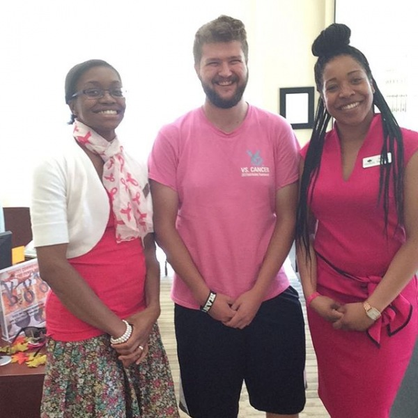 Catching a glimpse of our resident enjoying our Pretty in Pink Day! #breastcancerawarness #TrinityCommons #ThisisNWRliving