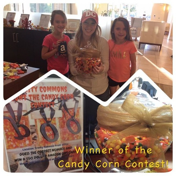 Congratulations, on winning the Candy Corn Contest! The total amount of candy corn in the jar was 860 pieces! Enjoy the corn!