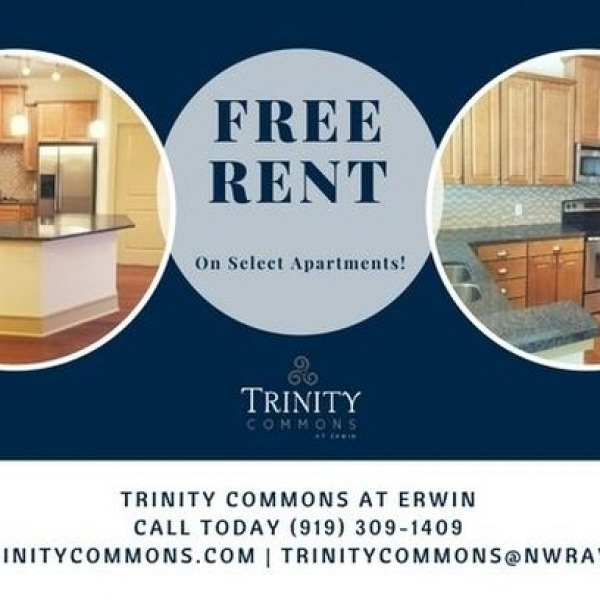FREE RENT on select apartments! Call us today 919.309.1409 www.TrinityCommons.com