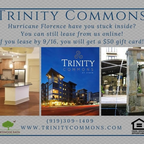 Does #hurricaneflorence have you stuck inside? You can still lease from us online! If you lease by tomorrow, you will soon be living in luxury, and we will give you a $50 gift card! Visit https://trinitycommons.com/ and apply today! #trinitycommons #thisisNWRliving
